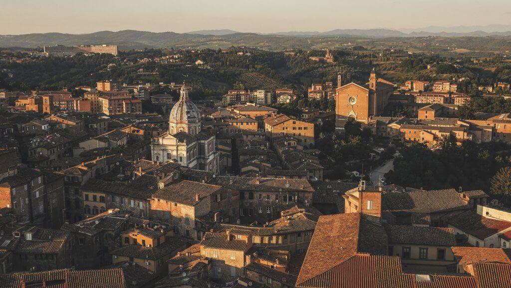 Vue aérienne de Sienne
